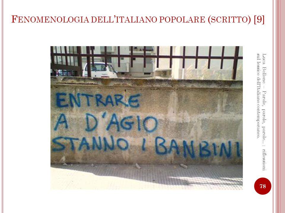 Fenomenologia dell'italiano popolare (scritto) [9]
